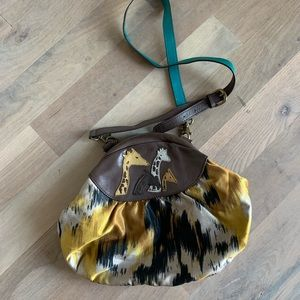 Anthro giraffe leather silk bag by Jasper & Jeera